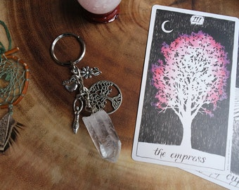 Gaia Gaea Greek Goddess Raw Quartz Crystal Key Chain - Mother Earth, Great Mother, Mother Nature, Terra