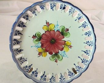 Vestal Alcobaca Hand Painted Flower Pierced Wall Plate Portugal - Item 1448