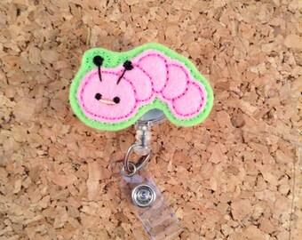 Caterpillar Badge Reels, BOOKWORM Badge Reel, FELT Badge Reel, Retractable ID Name Holder, Nurse Badge,  Teacher Gift, 272