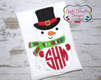 Snowman Applique Machine Embroidery Design, Monogram, Christmas, Santa, Elf, Reindeer, Holiday, Christmas Tree, Boy, Girl 4x4 5x7 6x10