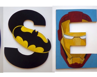 Superheroes theme Custom made Wooden Letters