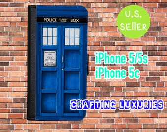 iPhone 5 Wallet Case, Doctor Who Tardis, iPhone 5s Wallet Case, iPhone 5c Wallet Case, Free Shipping Within The US.