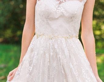Gold Beaded Belt Gold Bridal Belt Gold Belt Bridal Sash Woodland Belt Bohemian Belt Bridesmaid Belt Wedding Sash #40