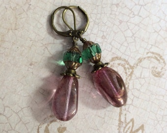 Teal and Plum Czech Bead Earrings