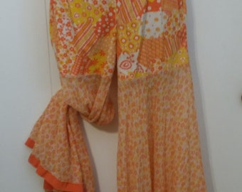True Vintage 1960s Psychedelic Bell Bottom Pants with Sheer Flared Legs Handmade Elastic High Waist Size Small 32 x 27