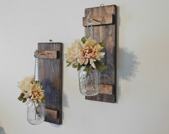 Hanging Mason Jar Sconces, Rustic Home Decor, Set of 2 Sconces, Mason Jar Wall Decor, Farmhouse, Mason Jar Decor, Mason Jar Wall Sconces