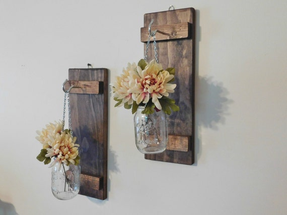 Wall Sconces Hanging : Hanging Mason Jar Wall Sconce Flower Vase Candle Sconce Wall