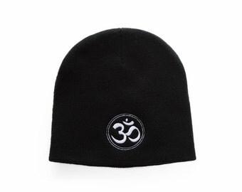 Om Symbol Beanie, Om Symbol Hat, Ohm Symbol, Yoga Gifts, Short Beanie, No Cuff Beanie, Embroidered Beanie