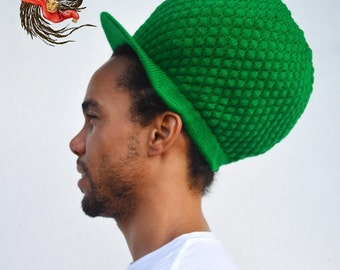 Large Green Dreadlock Tam Peaked Cap Dreads Hat