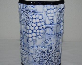 Embossed Vase, Baum Bros. Style-Eyes Hand Painted, Grape Embossed Ceramic, Octagon Shaped Vase, Blue and White Vase