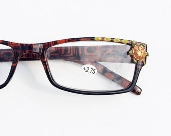Hand Painted Turtle Reading Glasses +2.75, Women's eyeglasses, Turtles Eyeglasses, Vintage Style, Fun, Funky