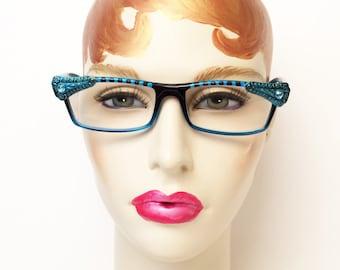 Art Deco Eyeglasses +2.00, Reading Glasses Blue, Ornate