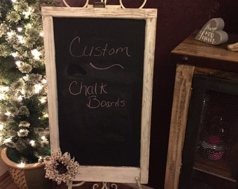 Custom made chalk boards out of recycled windows