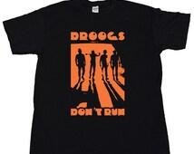 Droogs Dont Run T Shirt Stanley Kubrick A Clockwork Orange 1971 Ultraviolence Korova Milk Bar Moloko Vellocet Droog Mask Costume Tee Poster