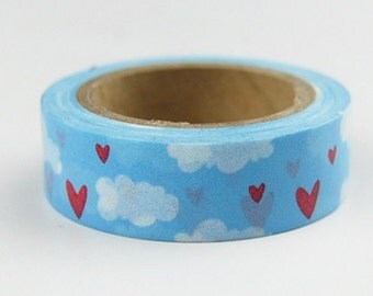 10m Clouds and Hearts Japanese Washi Tape, Blue Sky Masking Tape