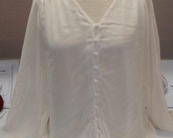 SALE Womens Off White Sheer Embroidered Top Small