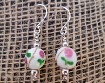 White Lampwork With Flower Detail Glass Beads On Sterling Silver Earrings