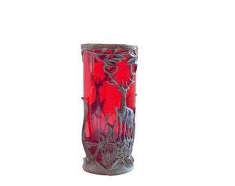 Vintage red vase with deer, Antique vase, Red vase, Glass vase, Metal vase, Bronze deer, Red glass, Rare, vase, vase, USSR, Soviet vintage
