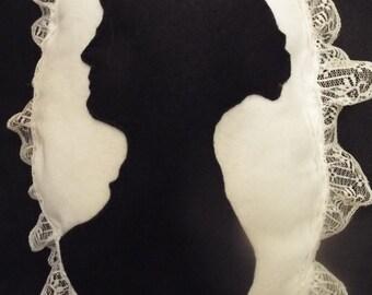 Jane Austen silhouette felt and lace Boudoir Cushion