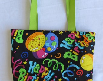 Fabric Gift Bag/ Small Tote- Happy Birthday