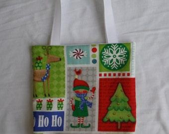 Christmas Fabric Gift Bag/ Secret Santa Bag/ Holiday Goody Bag