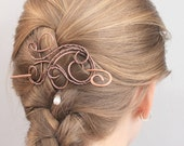 Pearl Hair Barrette, Copper Wire Wrapped Hair Stick, Hair Clip, Pin, Statement Hair Accessories for Women Gift for Wife, Thin Hair Brooch