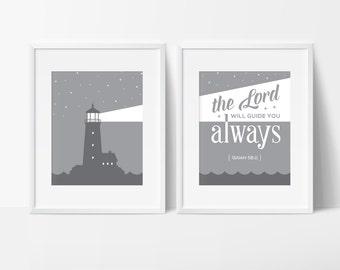 Printable Art, Lighthouse Wall Decor, Nautical Bible Verse, Coastal Printable, Wall Prints, Christian Art Prints, Gray Printable Art, Decor