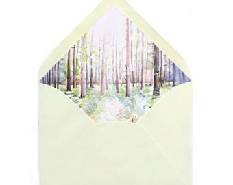 Woods Inspired Watercolor, Earthy, Natural, Trees, Arboretum Inspired Envelope Liner
