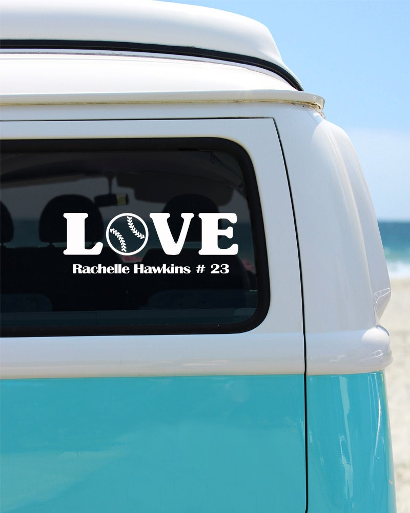 Baseball Love With Name Vinyl Window Decal Car Sticker Custom - Custom vinyl baseball decals