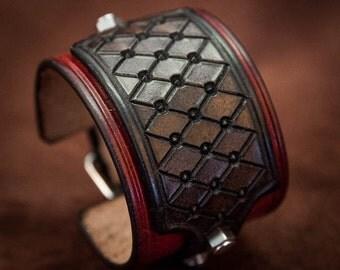 Red cuff leather bracelet rock style Deep red wine bracelet - handmade in France by Bandit
