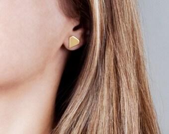 Gold Stud Earrings, Diamond Stud Earrings, Diamond Shape Earrings, Large Stud Earrings, Geometric Earrings, Minimal Earrings, Gift For Her