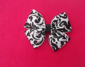 Black and White Scroll Hairbow