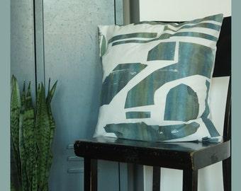 pillowcase cushion cover FORMEN green blue white screenprint print grafic pattern minimal