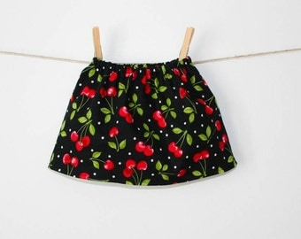 Baby Girl Skirt, Cherry Skirt, Black, Red, Cherry, Newborn Skirt