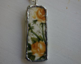 Broken china jewelry - broken china pendant- yellow rose vintage broken china necklace- yellow flower necklace