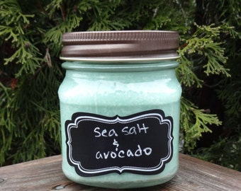 Sea Salt and Avocado Soy Candle/Sea salt and Avocado Candle/Aromatherapy Candle/Gift for Her/Gift for Teacher/Gift For Mom/Relaxation Candle