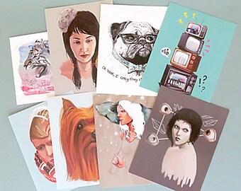 Art Grab Bag, Print Pack, All 8 current fine art postcard prints for less! Stationary Bundle, Postcard Pack, Stationary Grab Bag.