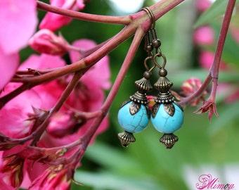 Turquoise Earrings, Boho Earrings, Ethnic Earrings, Blue Earrings, Antique Bronze Earrings, Tibetian Earrings, Boho Turquoise, Boho Charm