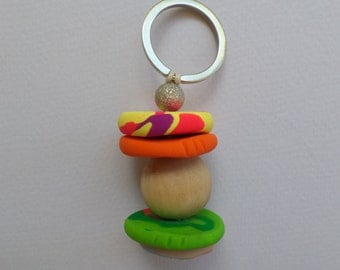 Bruce&Stevie polymer clay beaded keyring.