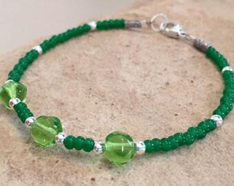Green bracelet, Czech glass seed bead bracelet, sterling silver bracelet, beach bracelet, summer bracelet, gift for her, bead bracelet