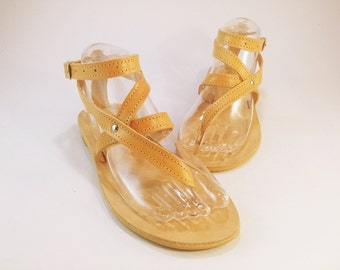 Strappy Design Sandals - Natural Leather Sandals - Greek Leather Sandals - Summer Flats. Handmade in Greece.