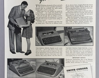 1941 Smith-Corona Typewriter Print Ad - Christmas Ad
