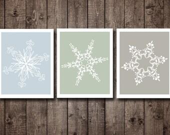 Printable Christmas Wall Art  Light Blue Snowflakes wall art Ash Gray Christmas Art  Print Winter decor Winter art prints Winter home decor