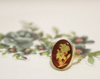 Amber Carved 9ct Yellow Gold Handmade Ring