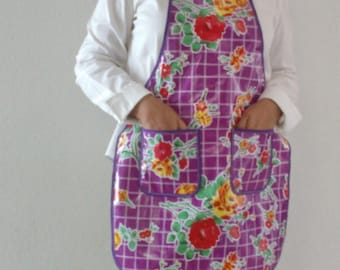 Mexican oil cloth Kitchen Apron with pockets.
