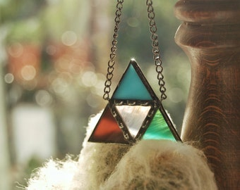 Triangle Necklace / Stained Glass Jewelry / Colorful Pendant/ Contemporary Jewelry/ Trendy Jewelry / Geometric Glass Jewelry / Gift for Her