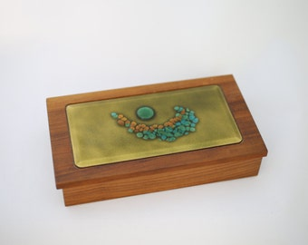 "Vintage Bovano of Cheshire Enamel and Wood ""Cigarette""/Trinket Box"