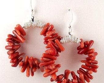 Red Coral Earrings - Beaded Earrings - Beach Earrings - Statement Earrings - Holiday Earrings