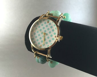 Gold and Mint Large Face Polka Dot Watch with Agate Beaded Watch Band -  Interchangeable