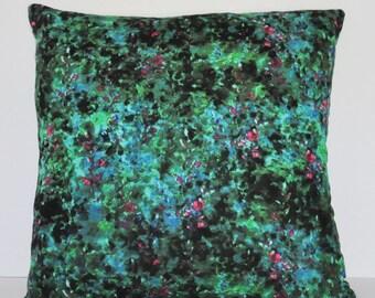 WATERCOLOR FLORAL PILLOW // Green Watercolor Linen Pillow, Green Pillow, Floral Pillow, Cushion cover, Malachite, Throw Pillow